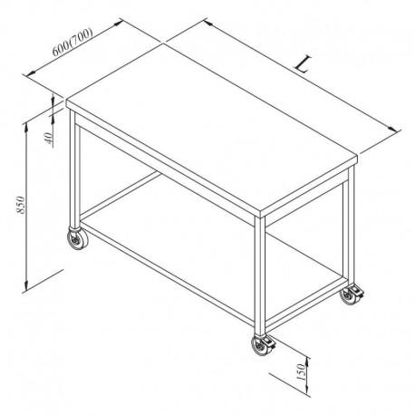TABLE CENTRALE AVEC UNE ETAGERE BASSE SUR ROULETTES