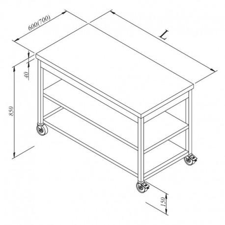 TABLE CENTRALE AVEC 2 ETAGERES BASSES SUR ROULETTES