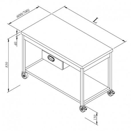 TABLE CENTRALE AVEC 1 TIROIR CENTRAL ET UNE ETAGERE BASSE SUR ROULETTES