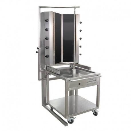 MACHINE A KEBAB  GAZ MODELE TYPE V, AVEC BANC MOBILE, VITRE THERMALE ROBAX, 55GUD-V-CA, 10 BRULEURS